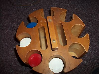 Rare Vintage Wood Poker Chip Caddy With Chips,Card Slots Turns/spins