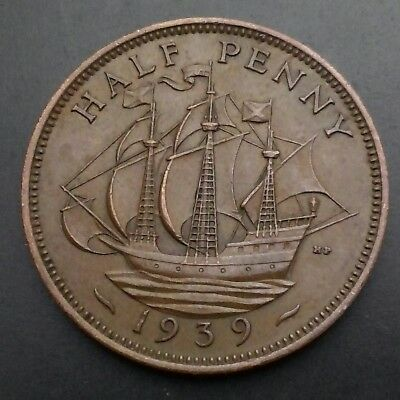 Great Britain, UK Half Penny 1939. KM#844. 1/2 Cent Coin. Ship. George VI.