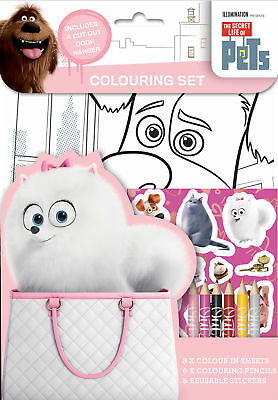 Secret Life of Pets Colouring Set Art & Craft Pencils & Stickers Activity Book