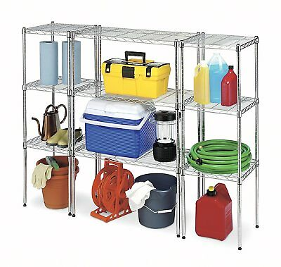 Supreme Chrome Plated Steel Heavy Duty Adjustable Stackable Wire Shelving Racks