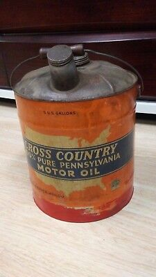 Vintage 1935 5 Gallon Motor Oil Can / Cross Country Prem Quality 100% Pure Pa.