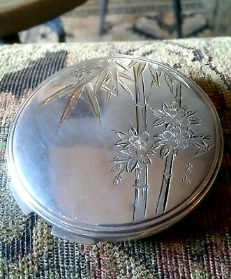 Antique Large Japanese 950 Sterling Silver Etched Compact - Powder Case