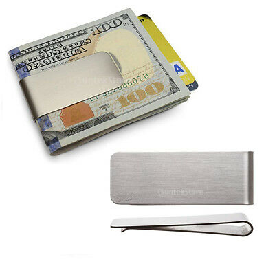 Pack of 5 Classic Stainless Steel Slim Money Clip Cards Holder Silver Men