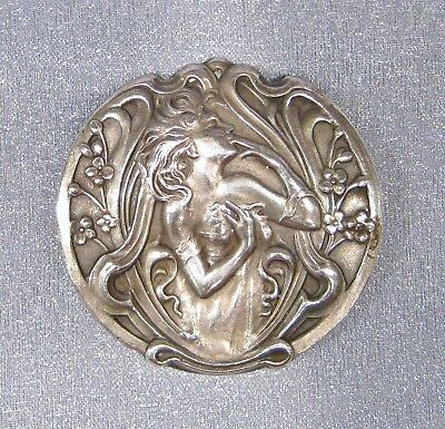 Antique Art Nouveau Beautiful Repousse Woman French Silver Plated Pin Brooch