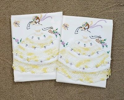 Never Used Vintage Pair of Hand Embroidered Pillowcases