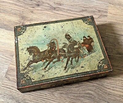 Antique Victorian c1898 Huntley & Palmers Russia Horse-Drawn Sledge Biscuit Tin
