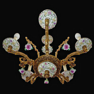 Antique French Limoges Pink Flowers Porcelain Chandelier/Shabby Chic/Gilt Bronze
