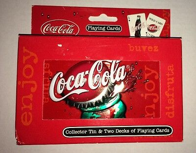 Coca Cola Collectors Tin & Two Decks Of Playing Cards Made In U.S.A.