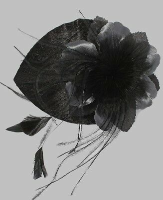 Beautiful Black Flower and Feather Fascinator
