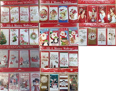 Pack of 4 Christmas money wallets - card for money - card for banknotes