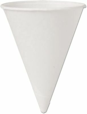 New SOLO Cup Company Cone Water Cups, Cold, Paper, 4oz, White, 200/Pack WM