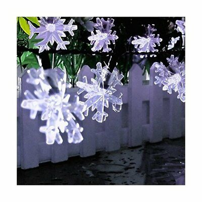 OutdoorLiving Semintech Solar Outdoor String Lights Crystal Snowflake 30LED  ...