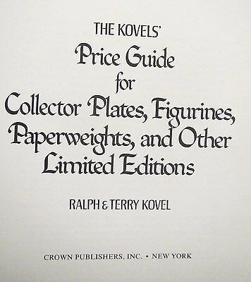 1978 Kovels Price Guide Collector Plates Figurines Paperweights & Other Ltd. Ed
