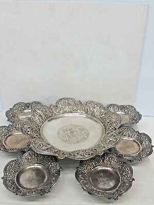 Antique Set Of 7 Pieces Islamic Solid Silver 84 Fitted Plates Handmade