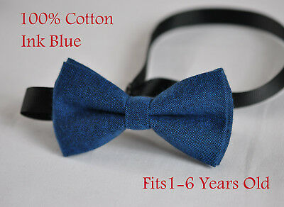 Boy Kids Baby 100% Cotton Mottled Ink Petrol Blue Bow Tie Bowtie 1-6 Years Old