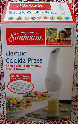 Sunbeam Electric Cookie Press 12 Cookie Disk 8 Icing Tips User Manual White EUC