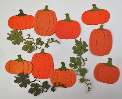 Pumpkin Fall leaves Cardstock Paper Die Cut Embellishment 9pcs Scrapbook