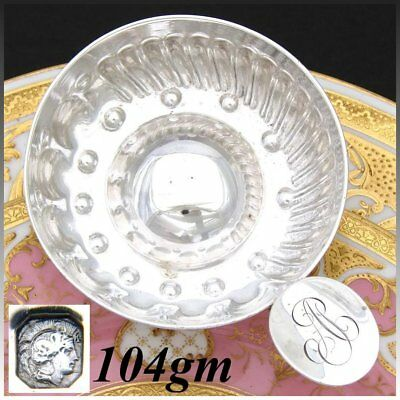 """Antique French Sterling Silver """"Tastevin"""" or Wine Tasting Cup, """"A.P."""" Monogram"""