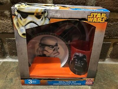 Disney Star Wars 3 Piece Dining Mealtime Set Darth Vader Storm Trooper New Zak!