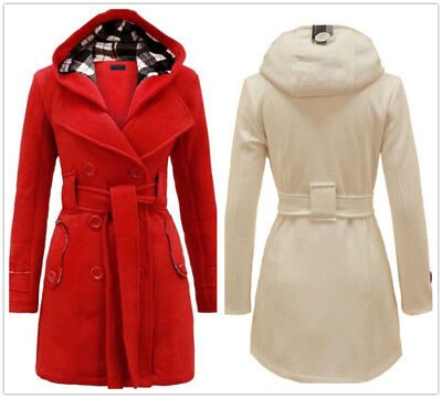 Double-breasted Belt Cotton Women's Slim Long Coat With Hat Tops Blouses S-3XL