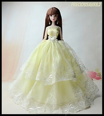 New Barbie doll clothes outfit princess wedding dress gown lemon embroidered.