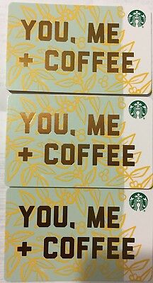"Lot 3 Starbucks ""YOU ME COFFEE"" 2018 Recycled Paper Edition gift card set NEW"