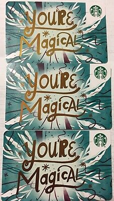 "Lot 3 Starbucks ""YOU'RE MAGICAL"" 2018 Recycled Paper Edition gift card set NEW!"