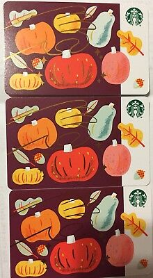 Lot 3 Starbucks Pumpkins & Fruits 2018 Recycled Paper Edition gift card set NEW