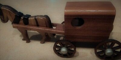 1997 Handcrafted Wood Amish Horse and Buggy M-M USA