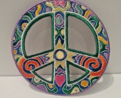 Peace Sign Symbol Patch Embroidered Hippie Iron On Hobo Indy Love  Quality