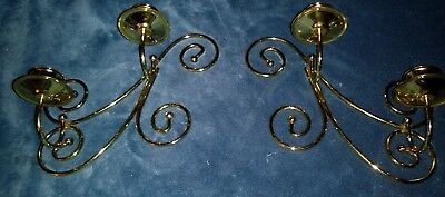 Pair of Home Interiors Brass Dual Wall Sconces Taper Candle Holders 7x9