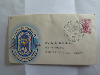 FIRST DAY COVER MELBOURNE XVIth OLYMPIAD 4 pence STAMP 1956 OLYMPIC VILLAGE PICt