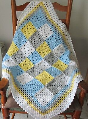 Beautiful hand crocheted  retro style granny square baby blanket