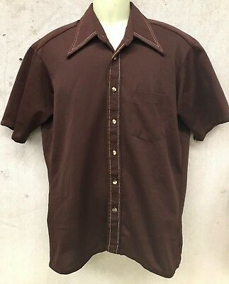 Vintage 70's Polyester SHORT Sleeve SHIRT BOWLING ROCKABILLY BROWN w WHITE L16.5