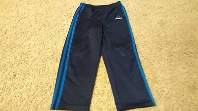 VTG 80's Boys Adidas Athletic Pants Size S Navy Blue 3 Blue Stripes ***READ DESC