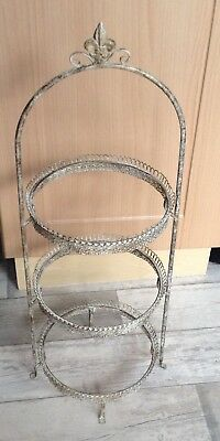 ***REDUCED PRICE ***Vintage 3 Tier Cake Stand Wire Top Cupcake Display Tearoom