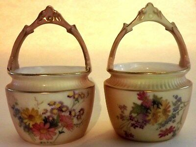 Beautiful-Pair-Antique Royal Worcester Blush Ivory Hand Painted Flower Baskets.