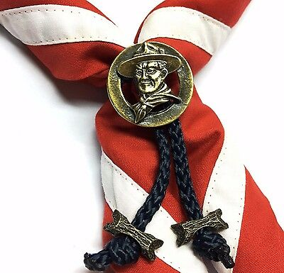Boy Scout Woggle Baden Powell with 2 Beads Neckerchief Slide Item No.103-2