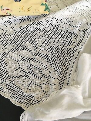 White Antique Linen Twin Bedspread Canopy W/ Crocheted Lace