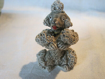 Vintage ceramic porcelain grey begging spaghetti Poodle dog figurine