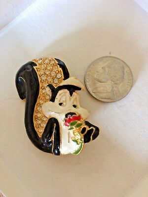 Pepe Le Pew Enamel Pave Jeweled Rose Pin Brooch Warner Brothers Looney Tunes