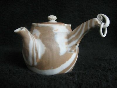 """Banko antique 3"""" teapot side handle,hanging ring & marbled gray translucent clay"""