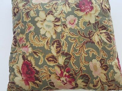 Longaberger Floral Pillow - 17 X 17  Green/Gold/Red