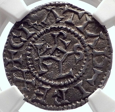 864AD Medieval FRANCE CAROLINGIAN King Charles the Bald Silver Coin NGC i71939