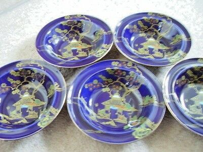 BURSLEY WARE Crown Pottery COBALT BLUE GLAZE WITH Chinese PATTERN BOWL,set of 5