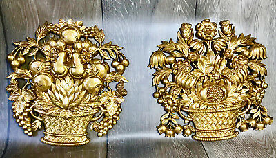 Vintage Mid Century Gold Syroco Wall Hanging Art - Flowers & Fruit Dated 1966