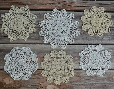 6 Crochet Round Doilies Lot in bulk Rustic Coasters Table Runners