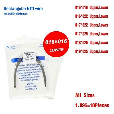 10Pcs Dental Orthodontic NITI Super Elastic Rectangular Arch Wires All Size Form