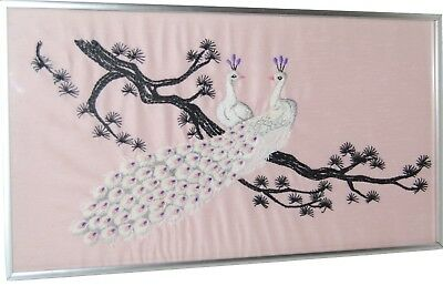 vintage needlework pink white peacock bird tree branch picture textile art frame
