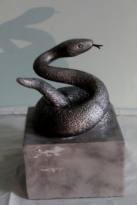 Coiled Silver Snake on Base Statue Sculpture Figure